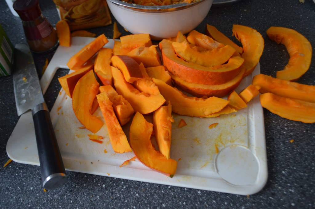 cutting pumpkin
